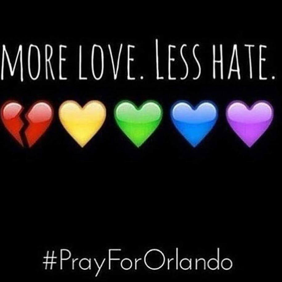 more love less hate rainbow hearts